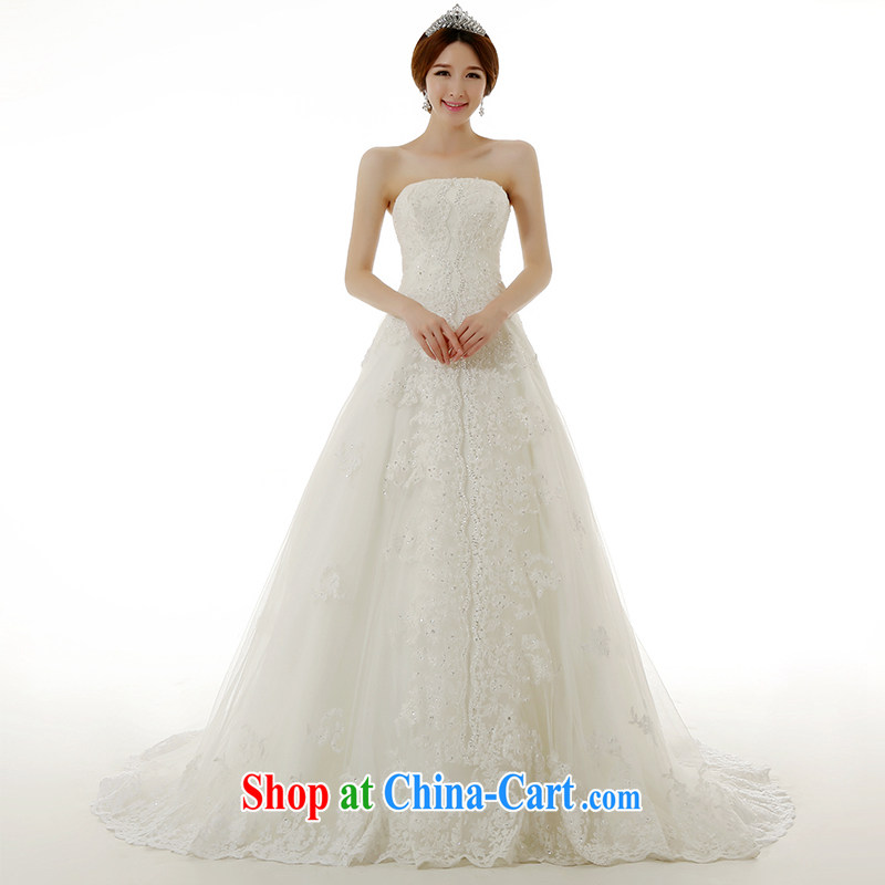 Dirty comics 2015 spring and summer new stylish Korean wiped chest lace large tail wedding dresses Korean Beauty Princess bride tied with lace-tail wedding dresses white tailored