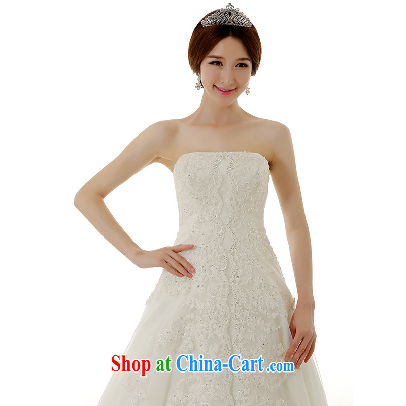 Dirty comics 2015 spring and summer new stylish Korean wiped his chest lace-the-tail wedding dresses Korean Beauty Princess bride tied with lace-tail wedding dresses white tailored, clean animation, shopping on the Internet