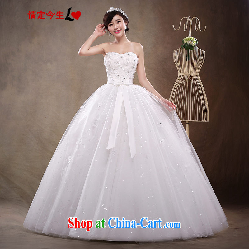 Love Life new 2015 diamond jewelry erase chest Korean bridal wedding dresses with tie Bow Tie wedding dress girls white XXL