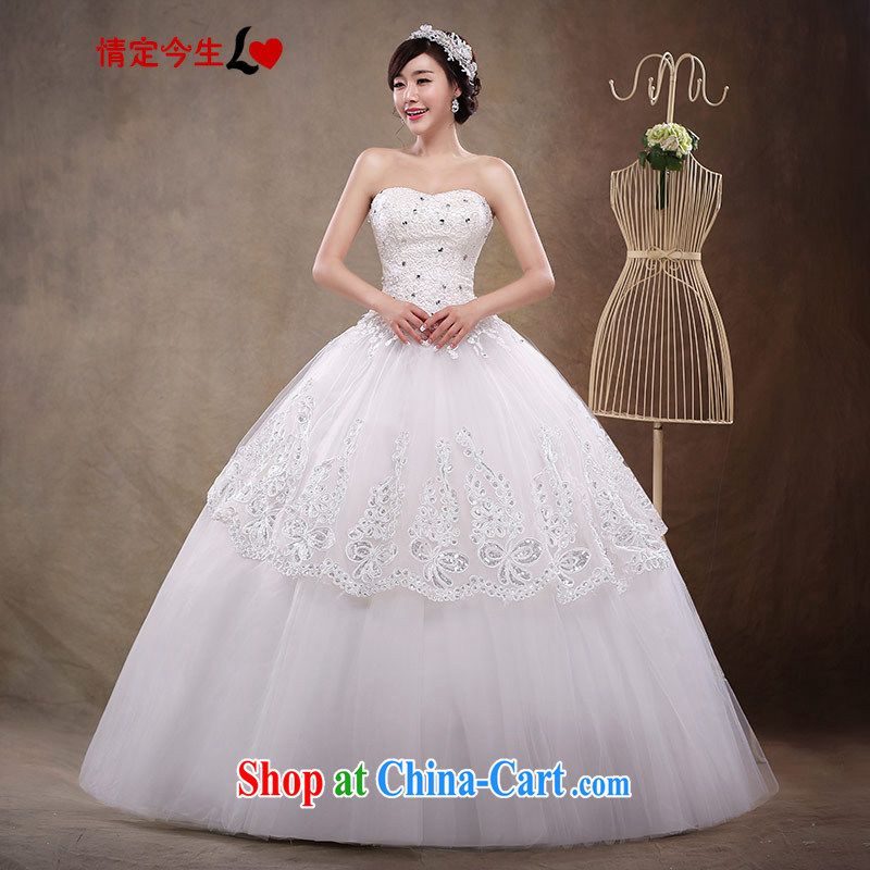2015 new erase chest white with wedding bridal lace standard Korean Princess style dress dress wedding dress girls white XXL