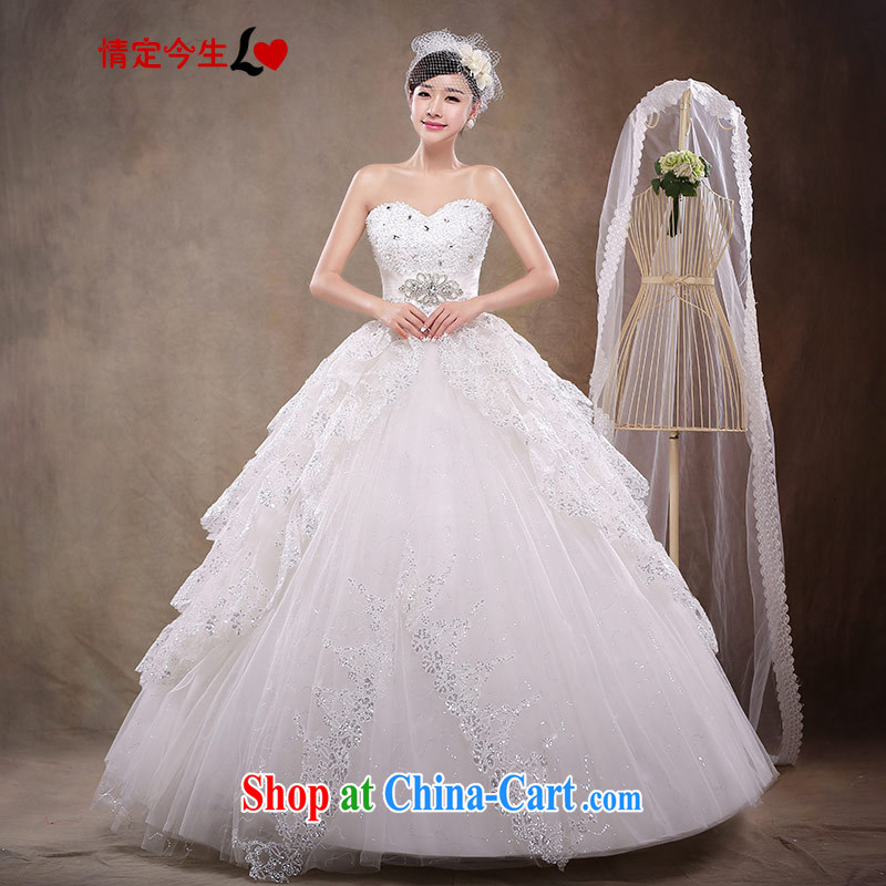 Love Life 2015 new Korean-style Korean bridal wiped his chest strap lace wedding dresses retro with wedding dress girls white XXL