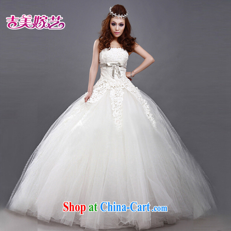 wedding dresses Jimmy married arts 2015 new erase chest Korean shaggy dress with graphics thin HS 180 bridal wedding white XXXL