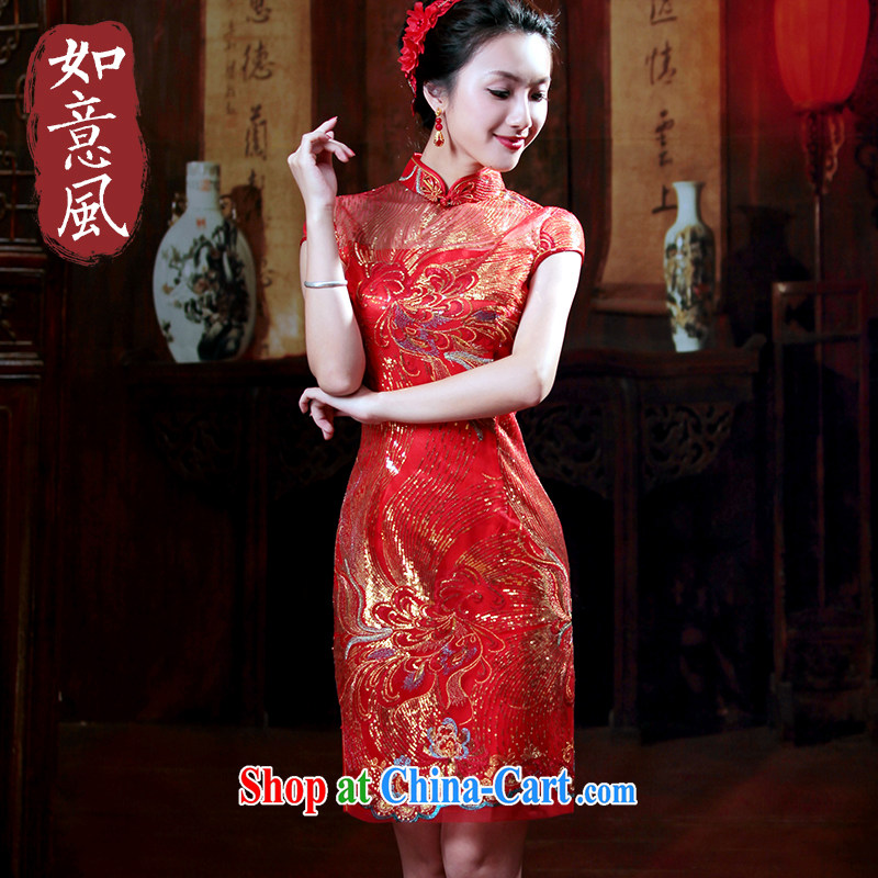 ruyi, 2014 new Wedding Fashion lace red bows Service Bridal beauty wedding dresses wedding dresses 2096 2096 red XXL