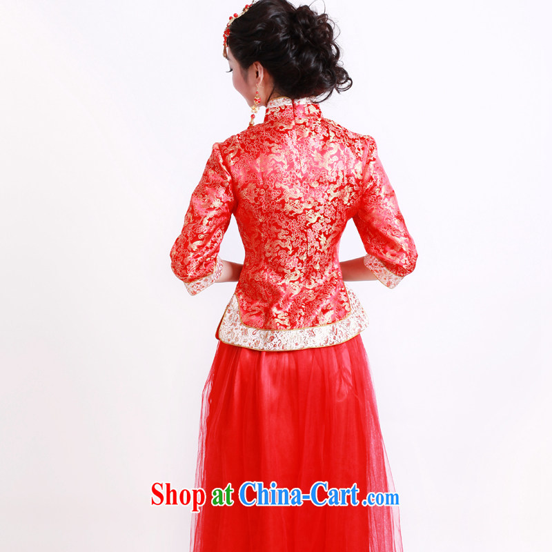 2014 new autumn and winter clothes wedding dress red traditional cuff wedding bridal dresses bows service 2146 21,467 sub-cuff XL sporting, wind, shopping on the Internet