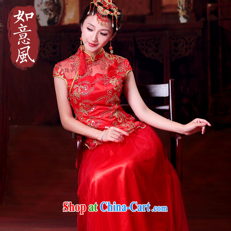 Ruyi style in a new, Bridal Suite Chinese wedding married Yi red bridal the Marriage Code cheongsam dress 4328 4328 small dress XXL