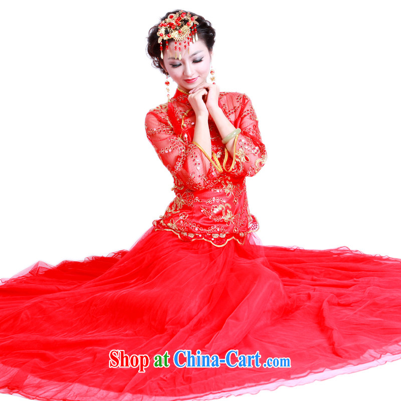 Ruyi wind marriages wedding red wedding dresses, wedding dress New with bows dress 3098 3098 the dress XXL