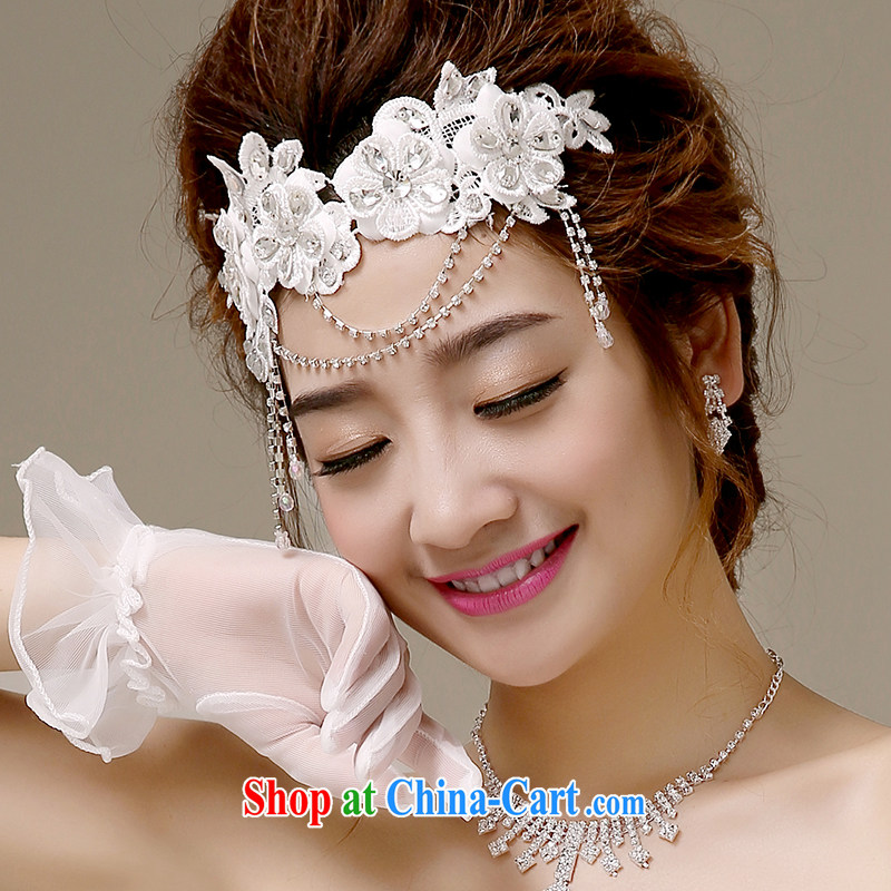 The US and the bride's wedding dresses toast serving head-dress bridal and flower bridal wedding accessories lace inserts drill with flowers and ornaments white TH - 01 white
