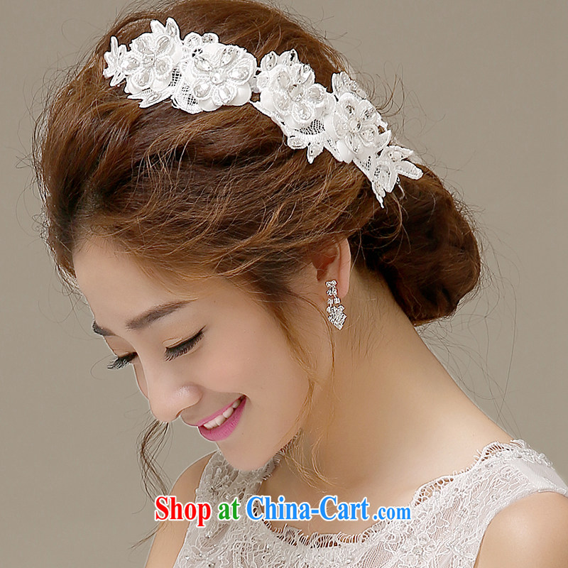 The US and the bride's wedding dresses toast serving head-dress bridal and flower bridal wedding accessories lace inserts drill with flowers and ornaments white TH - 03 white
