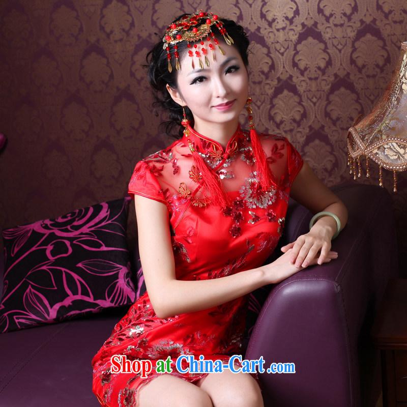ruyi, 2014 new stylish lace bows Service Bridal beauty wedding dresses red cheongsam dress 3086 3086 red XXL