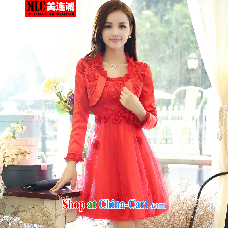 The US even good faith 2014 autumn the new lace stitching bridal back doors pregnant women married long-sleeved dress uniform toast bridal dress two-piece red XXXL