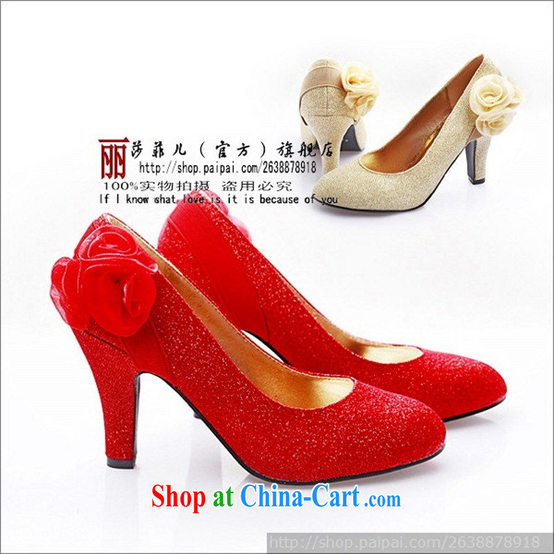 New wedding shoes dress shoes red wedding shoes 961 - 5 perfect-comfortable gold 9