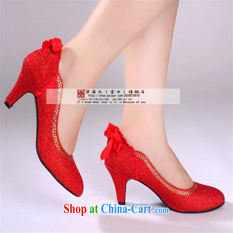 Red Gold with wedding shoes bridal wedding shoes dress shoes women shoes 2014 new hot red 8, so Pang, shopping on the Internet