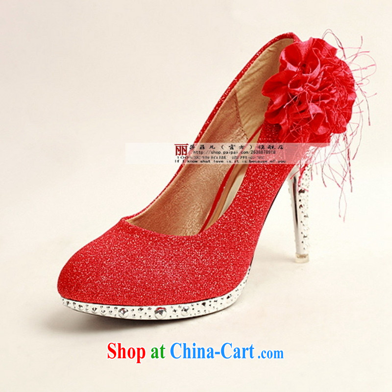 Bridal wedding supplies wedding accessories new Bridal Fashion bridal shoes slope marriage with shoes HX 3361 - 2 red 39
