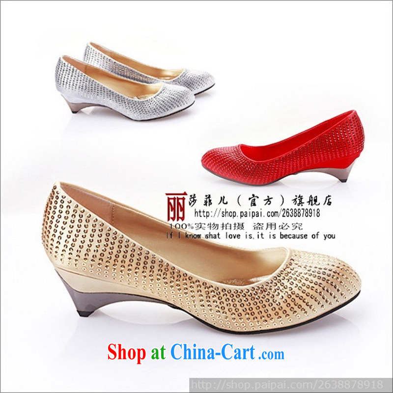 Slope marriage with shoes YY 326 - 28 Low With wedding shoes dress shoes wedding shoes shoes show gold 39