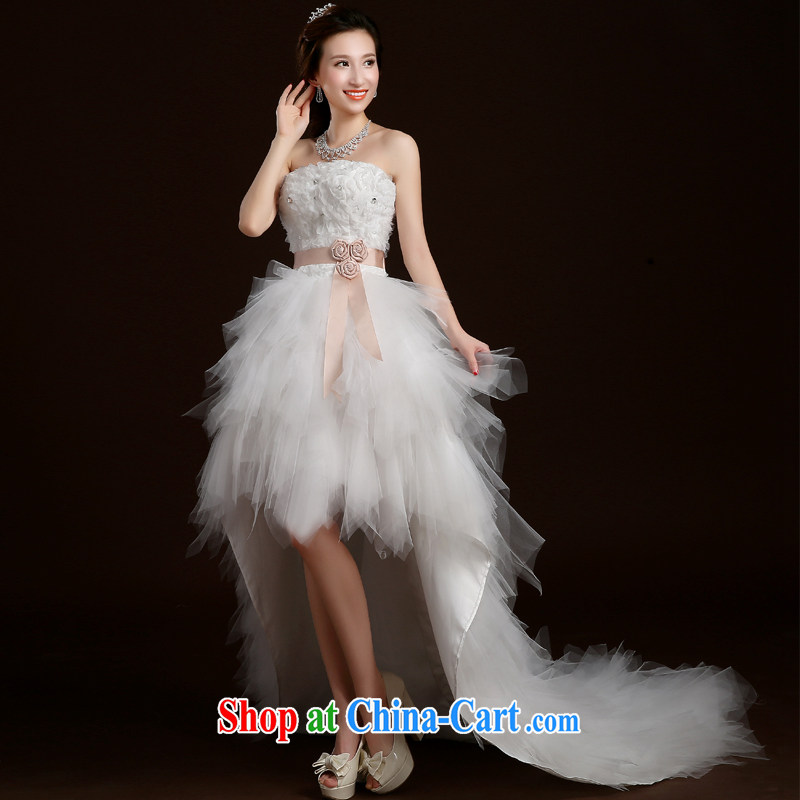 Qi wei summer 2015 new Korean version wiped his chest and end after a long wedding tie lace small tail tied with bridal gown moderator performance service white customization the $50 7 - 15 day shipping