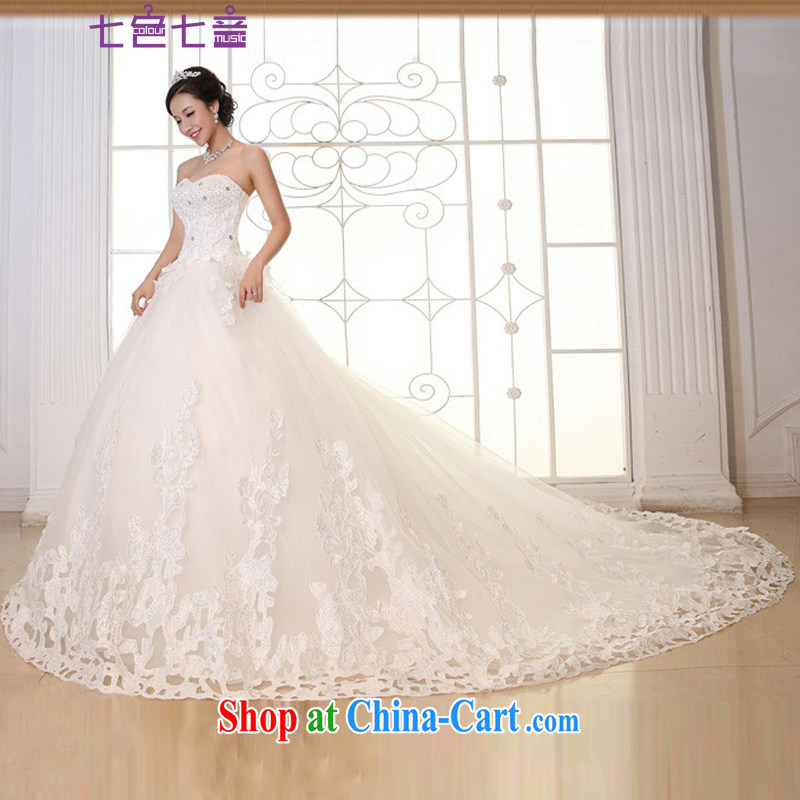 7-Color 7 tone Korean version 2015 new, tied with a bright diamond in the waist, graphics thin heart-shaped smears chest long-tail boat brides wedding H 040 white 1M and tailored