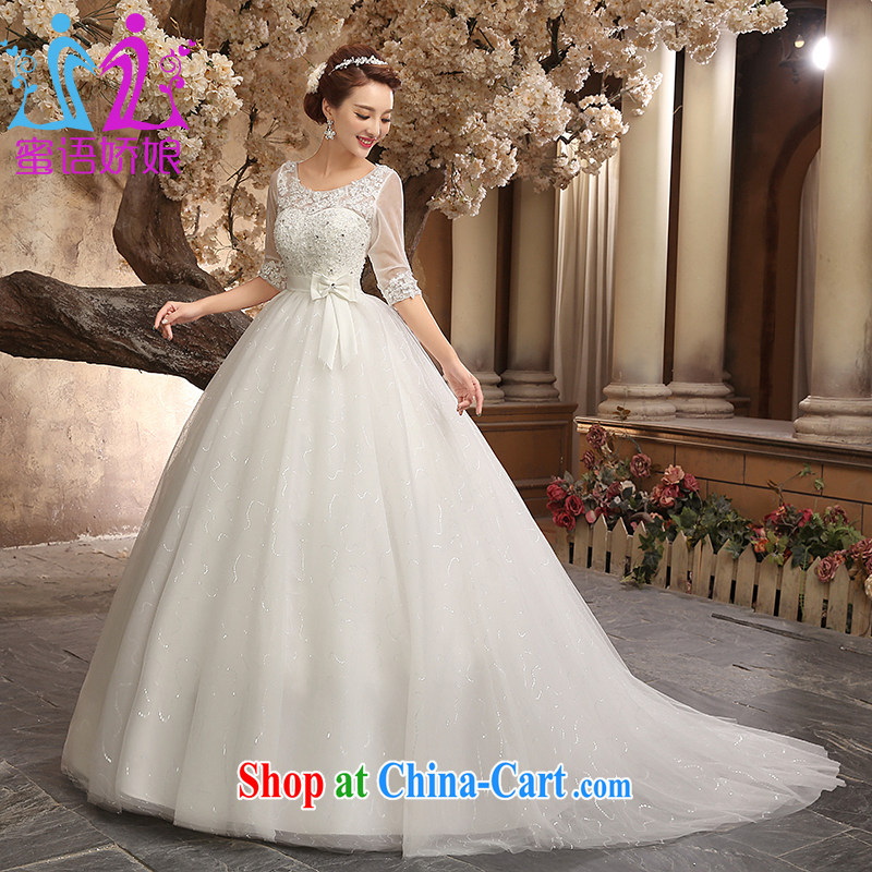 Honey, bride wedding dresses 2015 new small trailing the Field shoulder collar cuff tied with a large code graphics thin pregnant wedding Korean Princess home yarn white M
