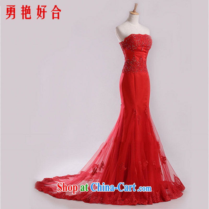 Yong-yan and European and American red erase chest wedding dresses 2015 new crowsfoot marriages served toast small tail wedding Red. size will not be returned.