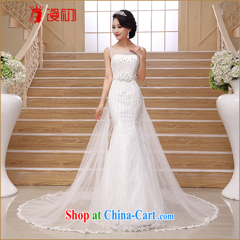 Early definition simple and small tail 2015 new stylish crowsfoot wedding luxury diamond shoulders marriages White Dress white XXL