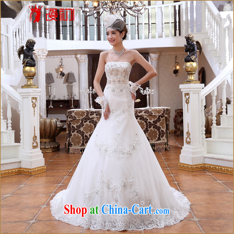 Early spread new 2015 small tail Princess marriage wedding Korean chest bare diamond jewelry crowsfoot graphics thin wedding tail white XXL