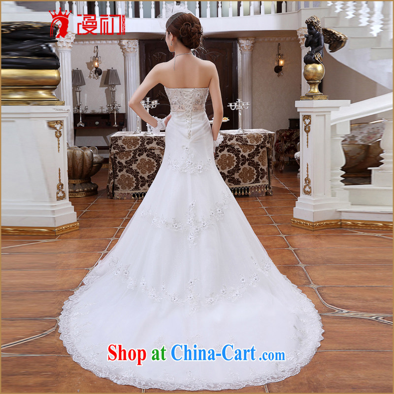Early spread new 2015 small tail Princess marriage wedding Korean version Mary Magdalene chest diamond jewelry crowsfoot graphics thin wedding tail white XXL, diffuse, and, shopping on the Internet