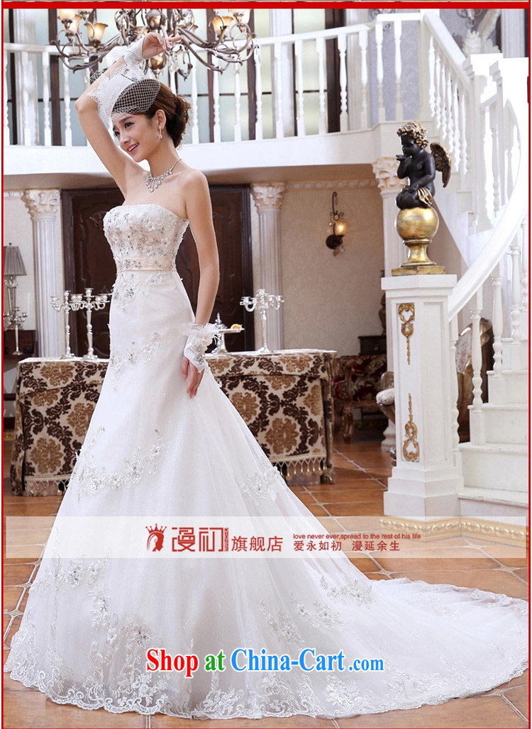 Early spread new 2015 small tail Princess marriage wedding Korean chest bare diamond crowsfoot graphics thin wedding tail white XXL pictures, price, brand platters! Elections are good character, the national distribution, so why buy now enjoy more preferential! Health