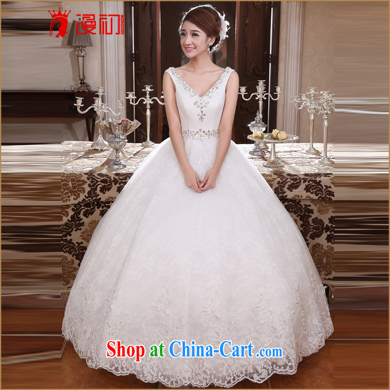 Early definition 2015 new wedding dresses Deep V collar double-shoulder Korean version with bridal graphics thin pregnant wedding white XXL