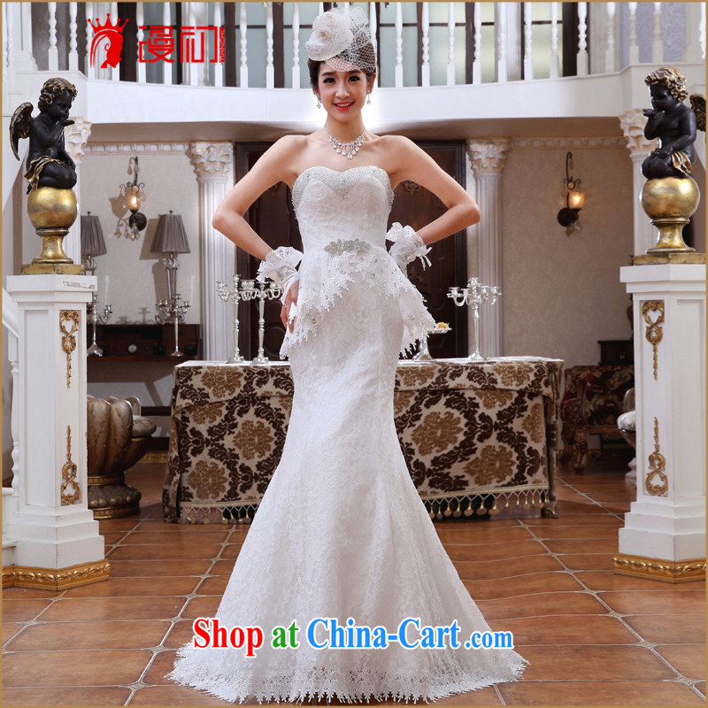 Early definition wedding 2015 New Deluxe chest off the tail end crowsfoot-waist bare chest lace wedding tail white XXL