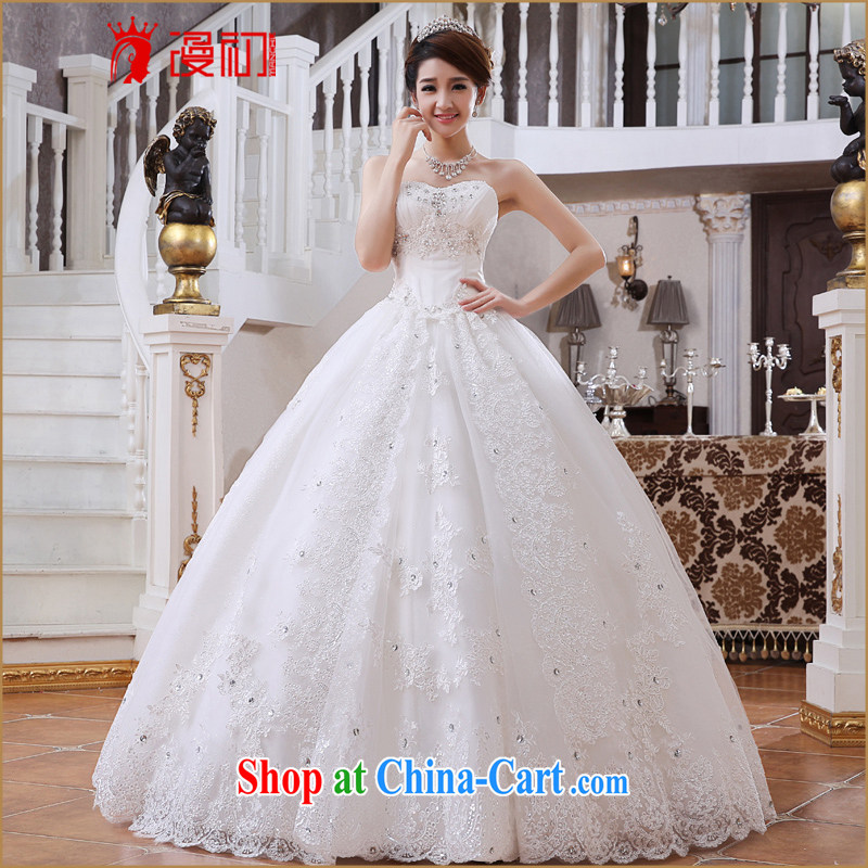 Early definition 2015 new summer wedding bridal wiped his chest to Korean-style graphics thin lace shaggy dress wedding white XXL