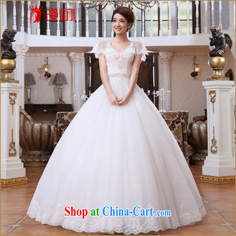 Early spread new 2015 bridal wedding field shoulder Deep V collar graphics thin wedding Korean version with pregnant women wedding dresses white XXL
