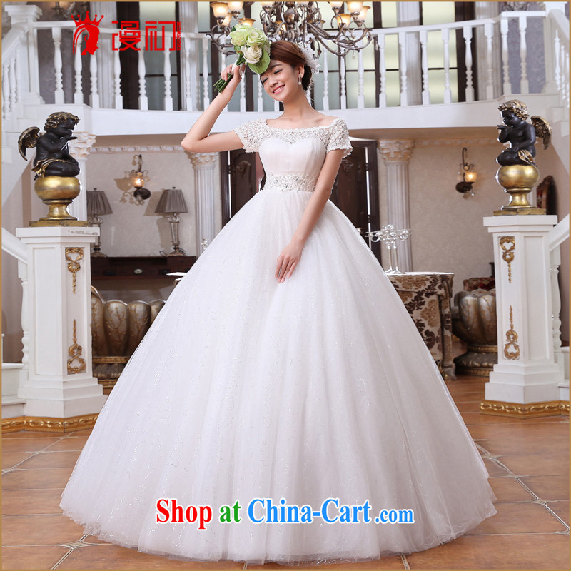 Early spread new 2015 wedding a Field shoulder short-sleeve water-soluble lace wedding Korean video thin with wedding white XXL