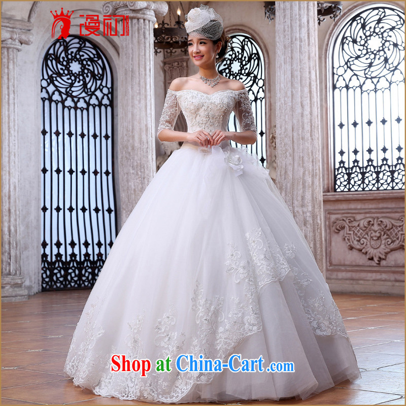 Early spread new 2015 Korean wedding a field in shoulder cuff wedding dresses large ultra-skirts swing wedding white XXL
