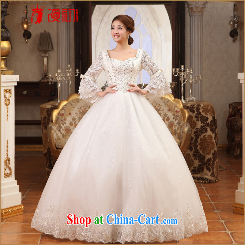 Early definition wedding dresses 2015 new luxury lace water drilling Princess long-sleeved with wedding spring and summer bridal wedding white XXL
