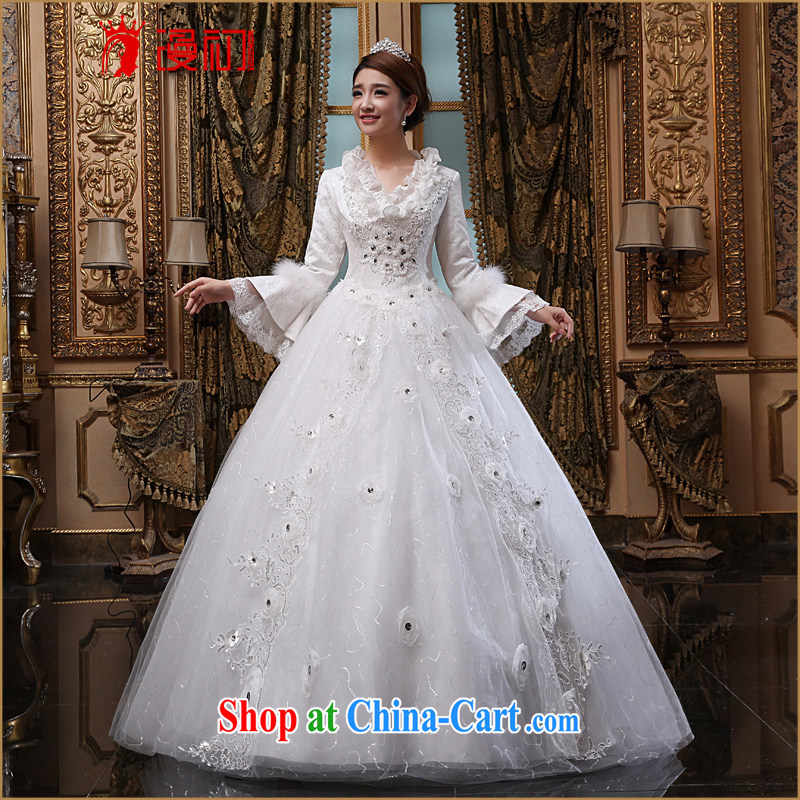 Early spread new 2015 winter wedding bridal marriage long-sleeved winter wedding Korean video thin flouncing for winter white XXL