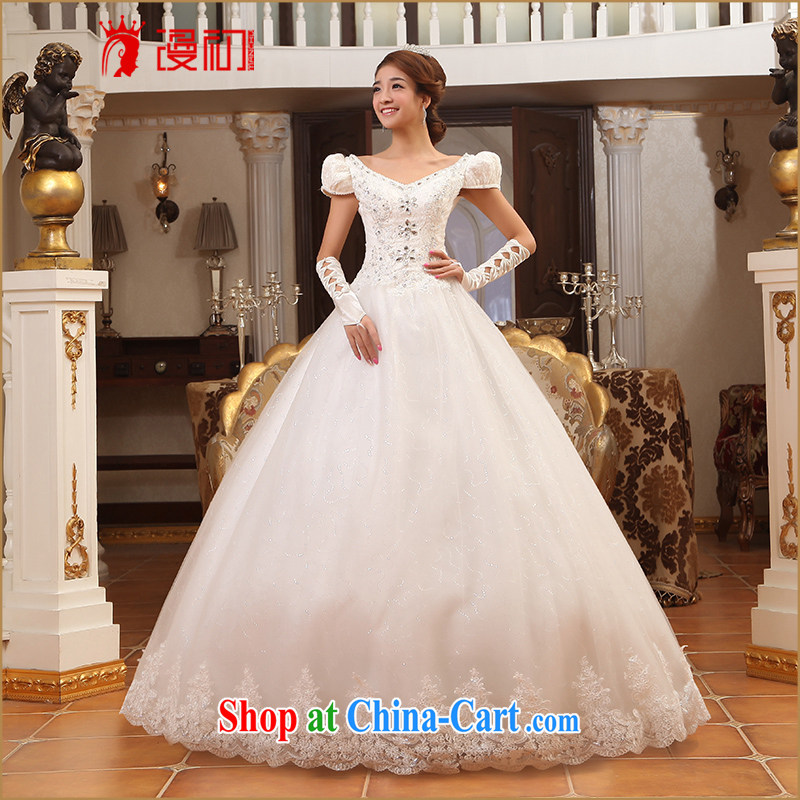 Early definition wedding dresses 2015 new sweet Princess bubble cuff wedding Korean video thin wedding dresses H white XXL