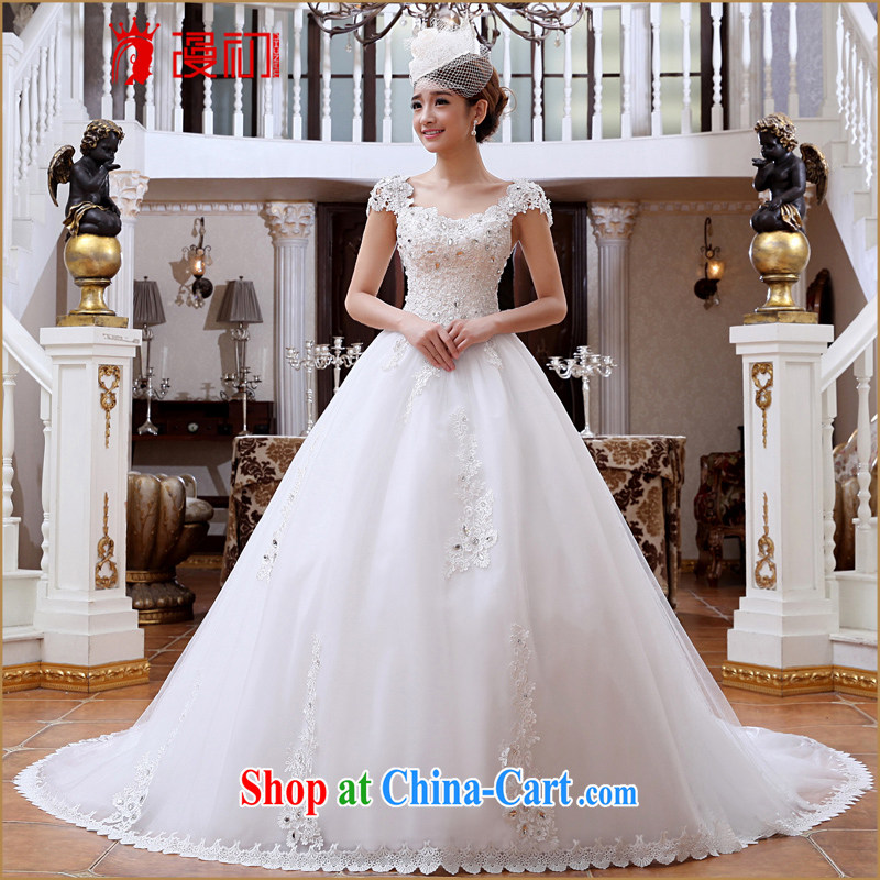 Early spread new 20,151 field shoulder wedding Deluxe Big-tail lace wedding fashion with Korean video thin wedding tail wedding XXL