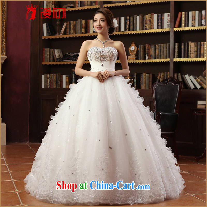 Early definition 2015 new wedding Korean-style Korean wiped his chest, wedding Princess shaggy dress Deluxe drill wedding dresses white XXL
