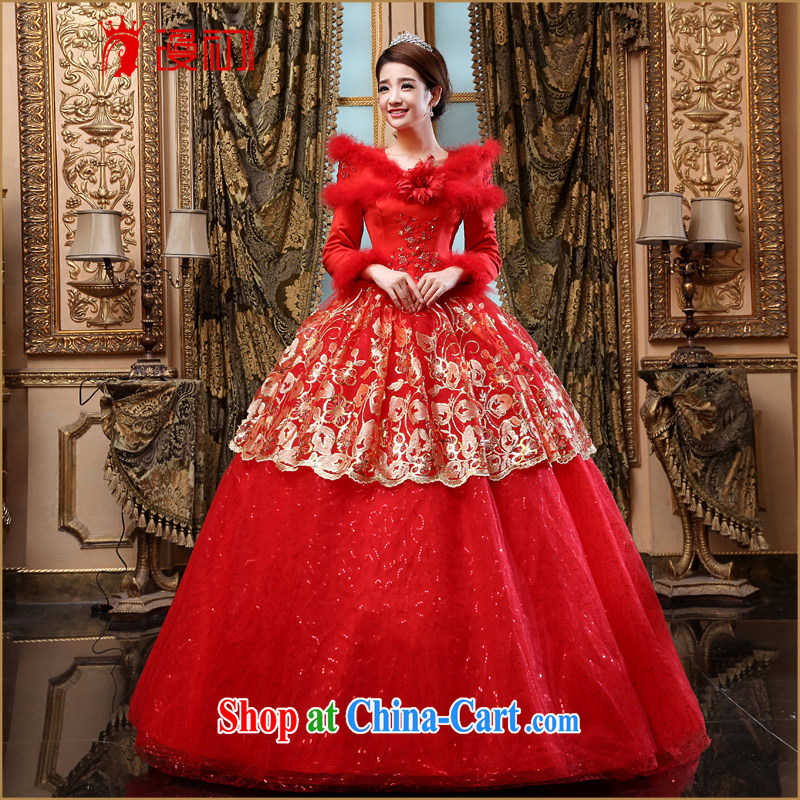 Early spread new, winter 2015, bridal wedding red winter clothes wedding thick long-sleeved winter wedding dresses winter Korean wedding red XXL