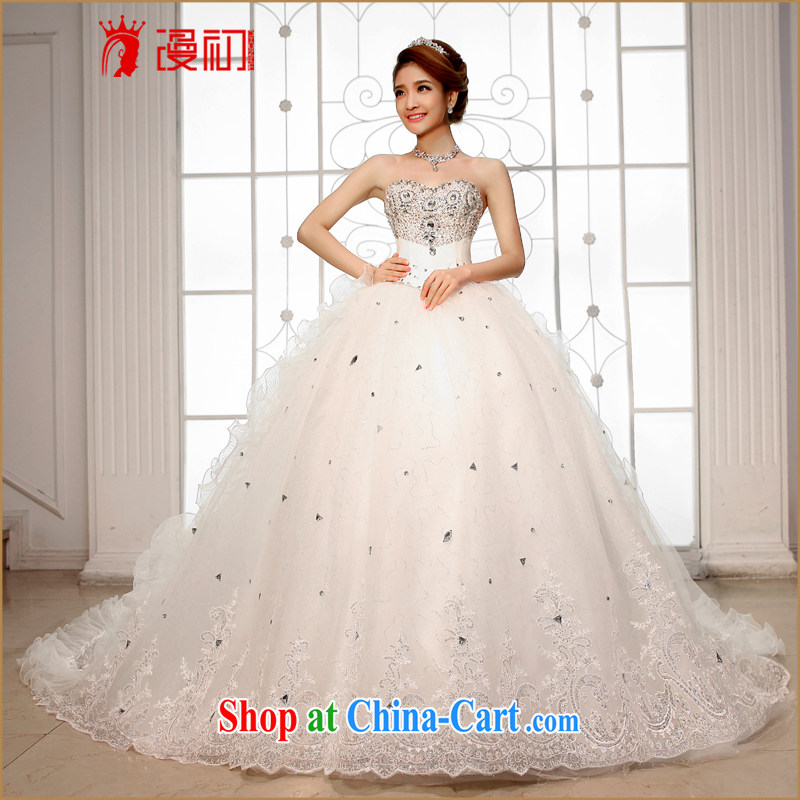 Early spread new 2015 wedding dresses Deluxe wipe chest Korean tail wedding high water drilling long-tail wedding white XXL