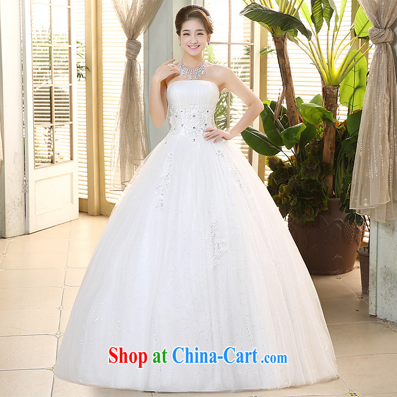 The United States, wedding dresses 2015 spring and summer Korean hem and wiped his chest lace beaded tie-cultivating graphics thin with Princess yarn H - 70 white XXL