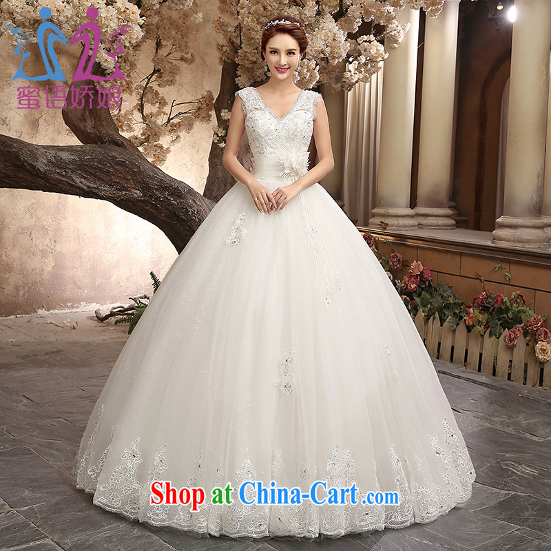Honey, bride wedding dresses new 2015 Royal retro trendy code marriages wedding beauty graphics thin Princess Korean home yarn white XXL