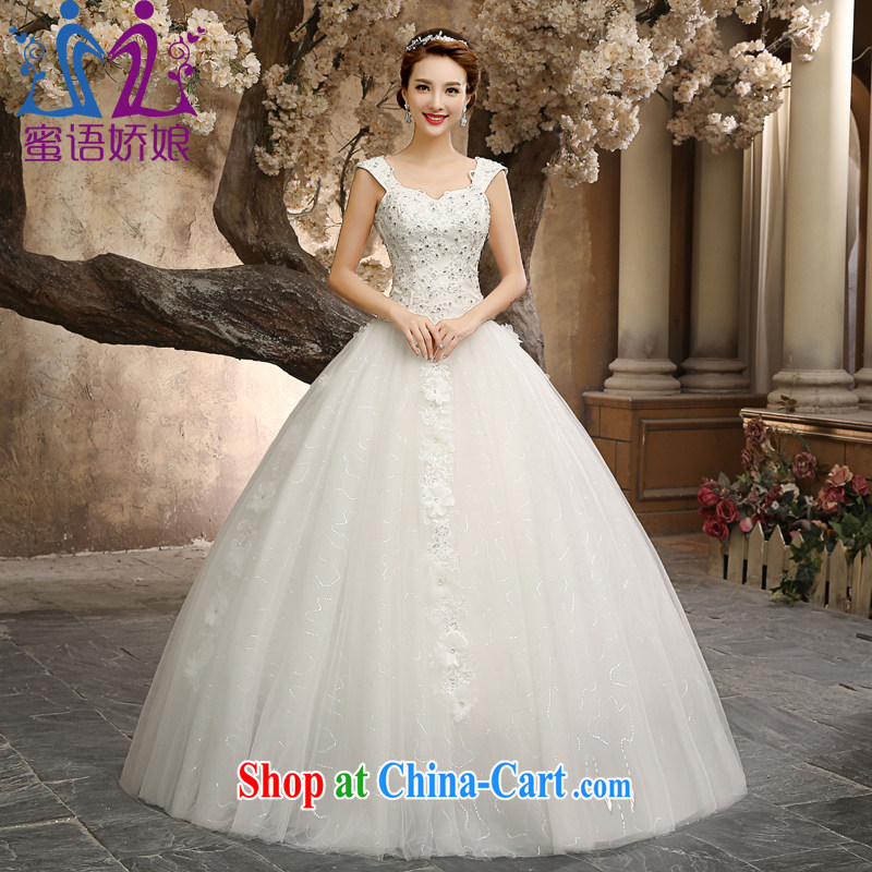 Honey, Bride With wedding dresses fashion 2015 New Dual shoulder straps V collar sexy beauty graphics thin brides home yarn white XXL