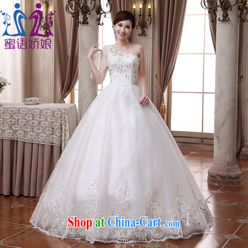 Honey, bride wedding dresses new 2015 single shoulder alignment to bind with Korean and elegant with large, pregnant women bridal wedding white XXXL