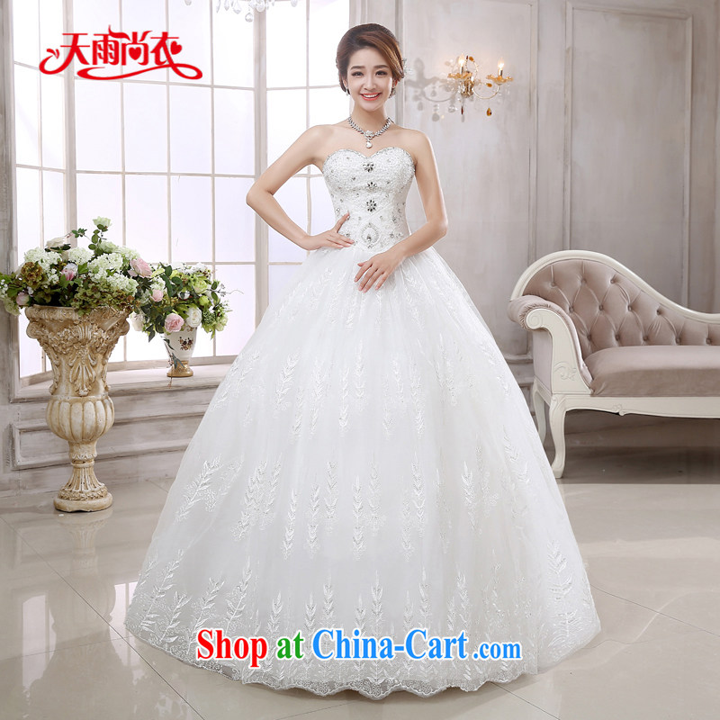 Rain is still Yi New wedding dress 2015 erase chest Korean high chest bare wood drill Princess by marriage with wedding HS 872 white M
