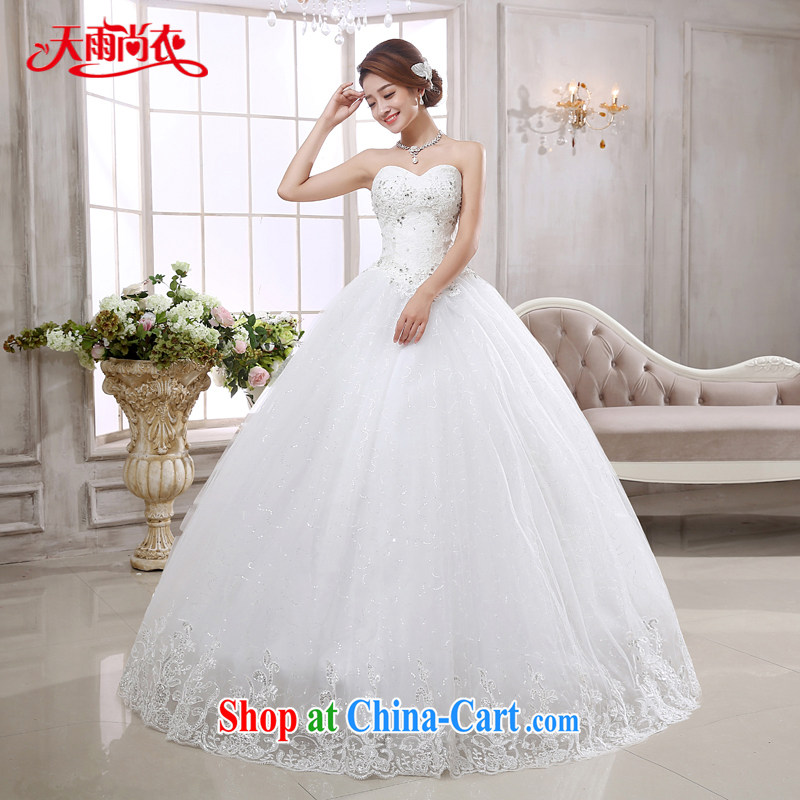 Rain is still clothing bridal wedding dress 2015 new stylish lace bare chest princess and elegant with a strap white wedding HS 875 white XXL