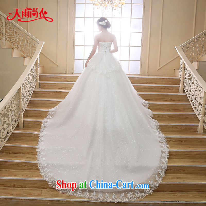 Rain is clothing bridal 2015 marriage new lace Korean Princess Mary Magdalene chest graphics thin luxury parquet drill staple the tail long wedding HS 879 white M