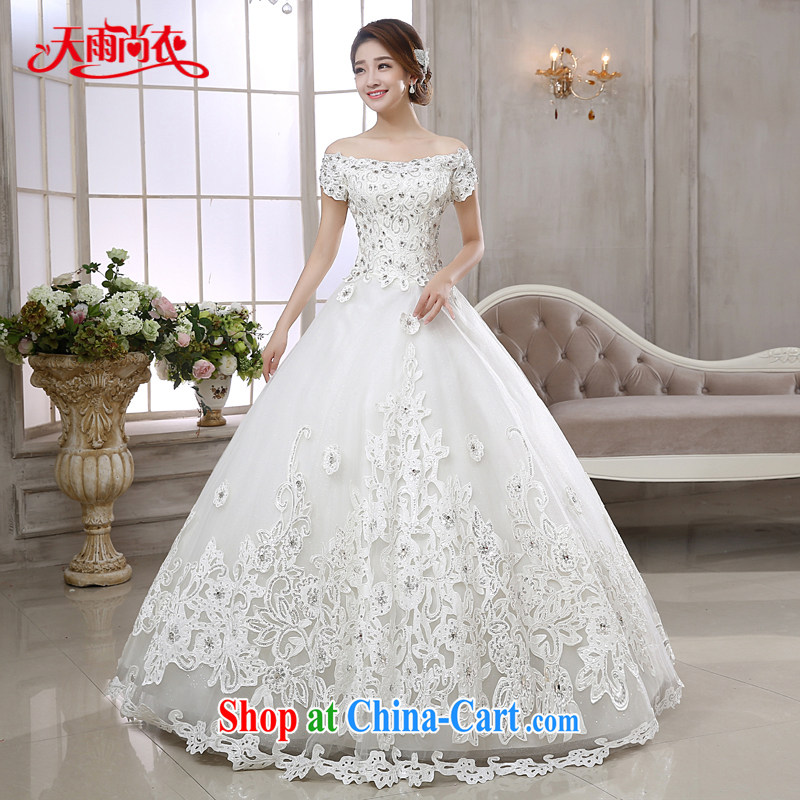 Rain is still Yi marriages 2015 new high-end Stylish European wind field shoulder parquet drill video thin white strap wedding HS 880 white XXL