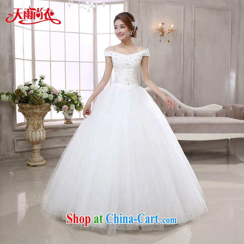 Rain is still clothing wedding dresses 2015 new bride wedding Korean Princess married Yi White Field shoulder lace nails Pearl graphics thin with HS paragraph 882 white XXL