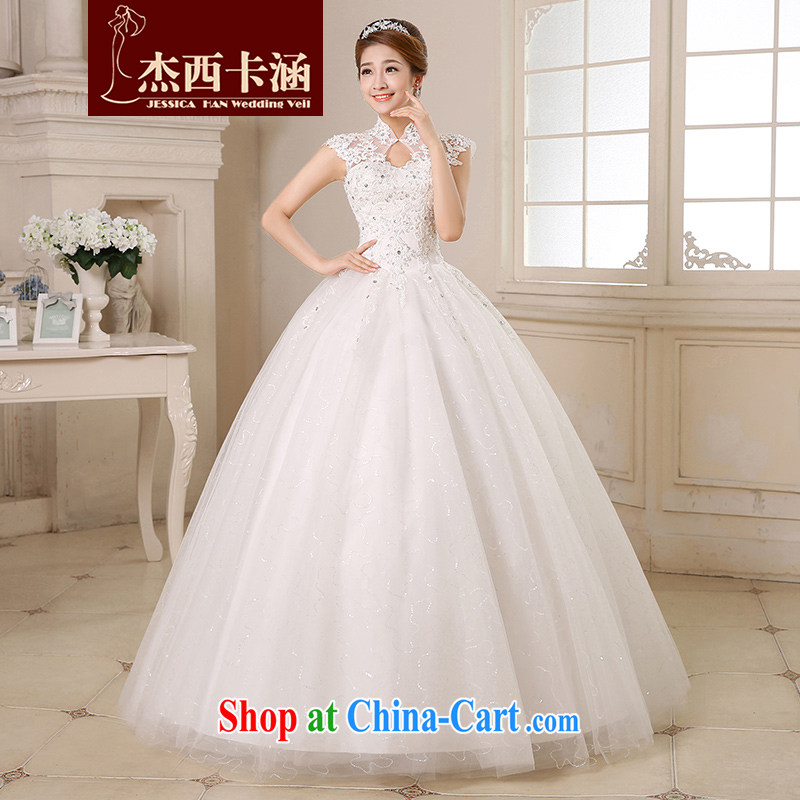 Jessica covered by wedding dresses 2014 new stylish, for package shoulder lace With marriages winter drilling Korean tie-cultivating graphics thin 2133 white XL