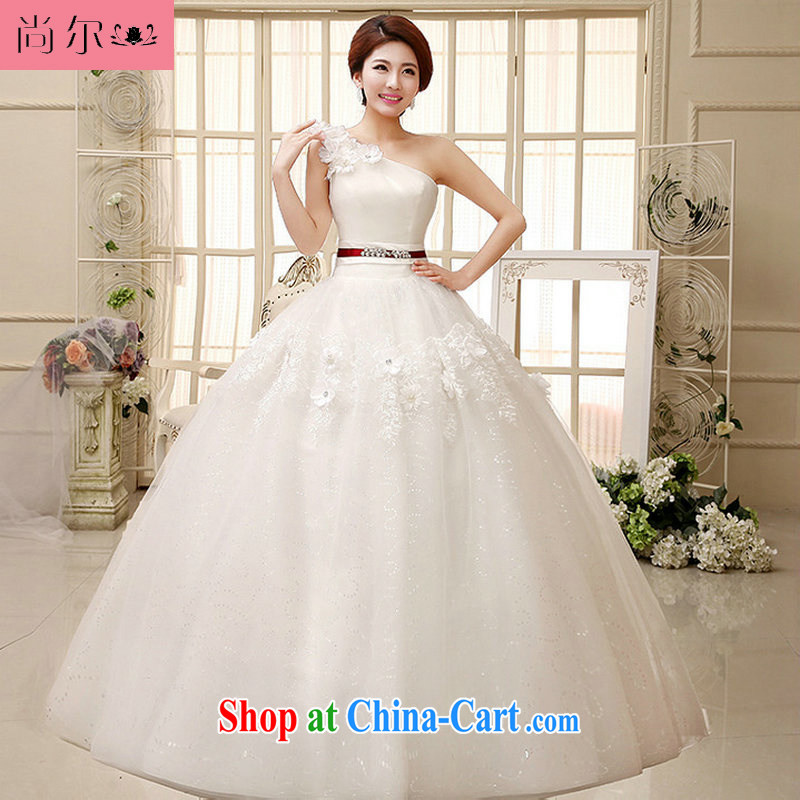 Still, 12,014 new wedding single shoulder shaggy skirt small-xin stylish manual flowers with wedding Al 00,286 white L